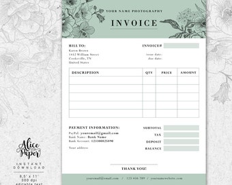 Invoice Template For Photographer Photography Invoice Receipt Etsy