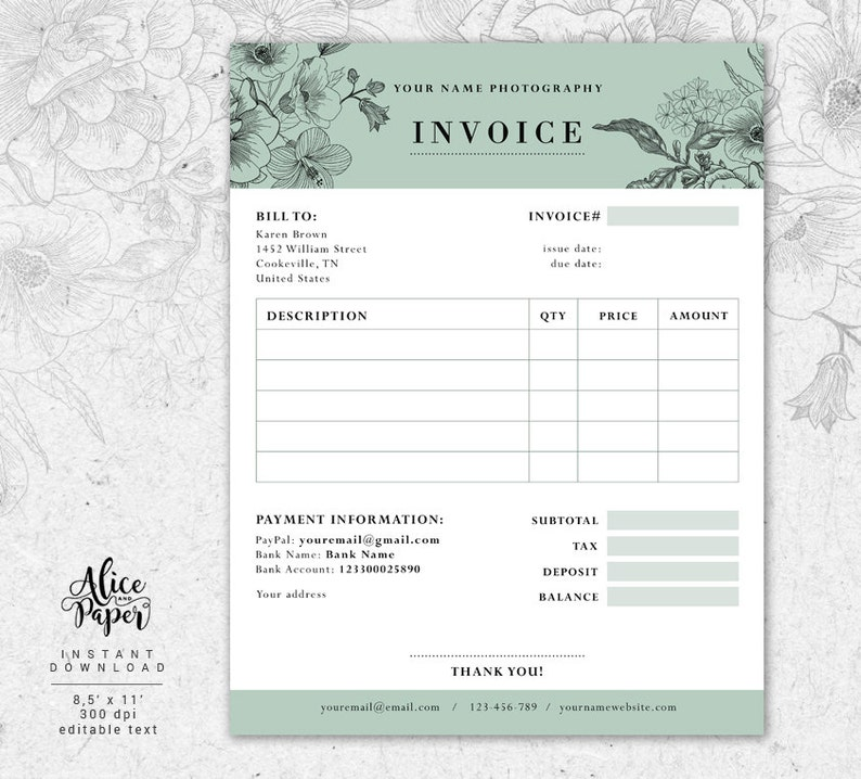 Invoice Template Photography Invoice Receipt Template For Etsy