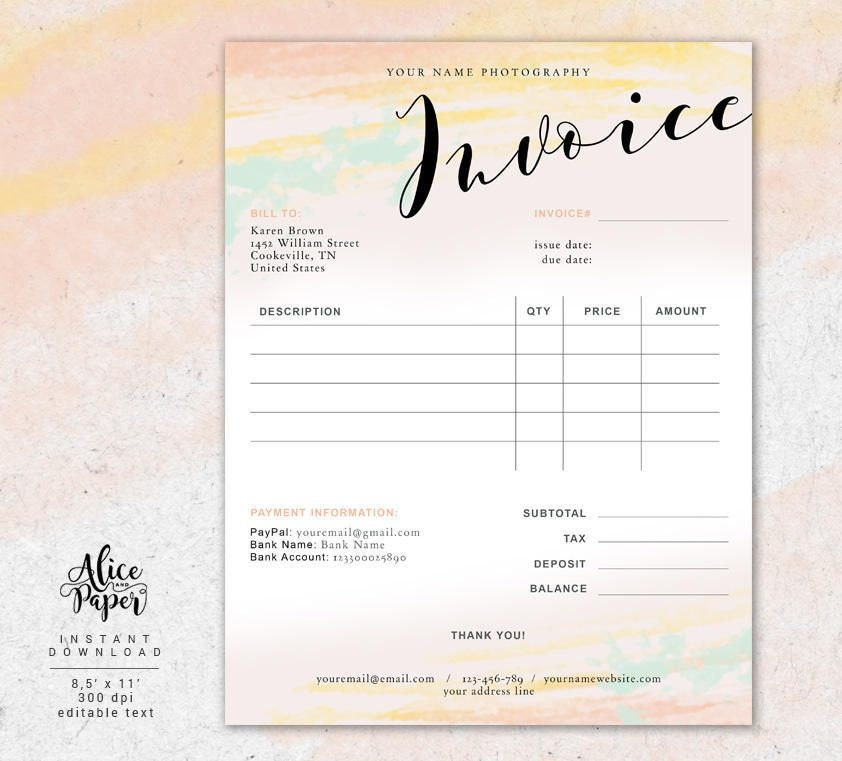 Invoice Template Photography Invoice Receipt Template For Photographers Business Invoice Photography Forms Photoshop Template Psd File
