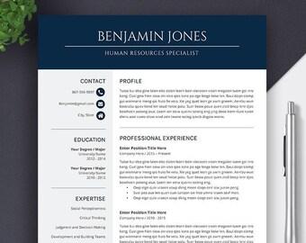 2019 Resume Cv Template Cover Letter Digital Editable Ms Etsy