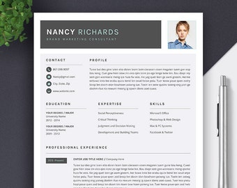 Modern Resume | Professional Resume | CV Template | Word Resume Template | Cover Letter | Creative Resume Design | Instant Download | NANCY