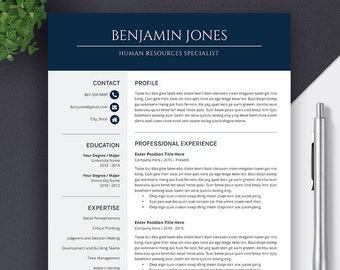 Resume Template, Cover Letter, Improved for Employability, Super Easy-to-use, Fully Compatible with MS Office for Mac and PC, Benjamin