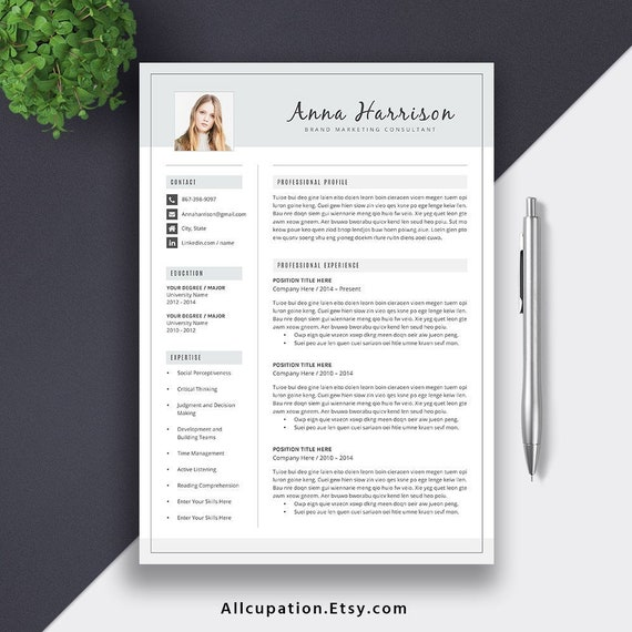 2019 Editable Resume Template For New Grad Jobs Cover Letter 1 5 Pages Word Resume Professional Creative Resume Instant Download Anna