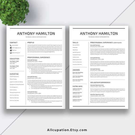 2019 Resume Template, Cover Letter, Office Word Printable Resume, CV  Template, Creative Modern Resume Design | Instant Download | ANTHONY