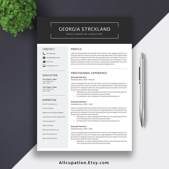 2019 Resume CV Template, Cover Letter. Digital Editable MS Word Resume for  Student, Intern, Fresh Graduate and Professionals. Georgia Resume