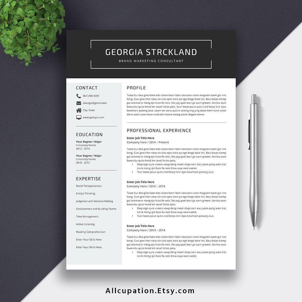 2019 Resume CV Template Cover Letter. Digital Editable MS
