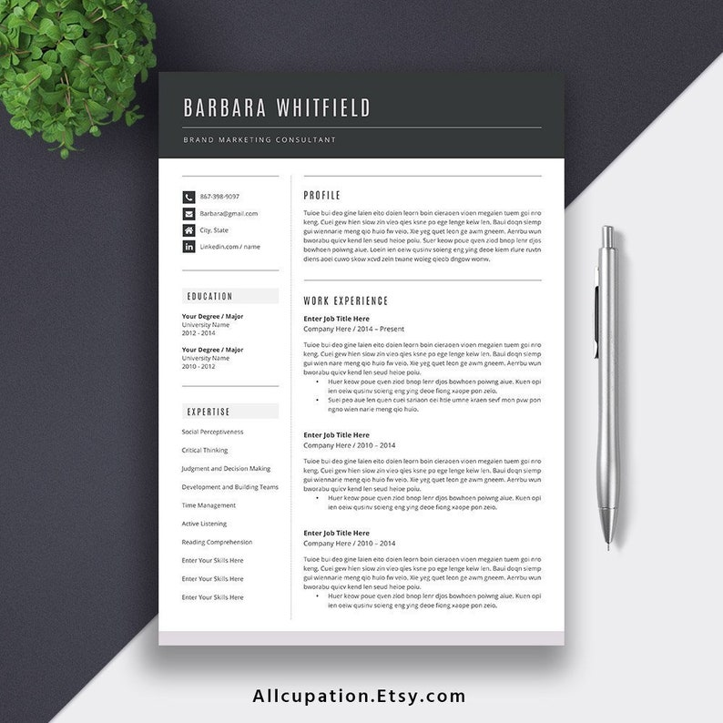 2019 Professional Resume Template, Modern CV Template, Word Resume Design,  Cover Letter, Best Resume, Job Resume, The Barbara