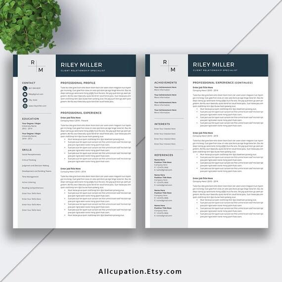 2019 Resume Template For Word Cv Template Professional Cv Creative Resume Design Simple Resume Professional Resume Template Riley
