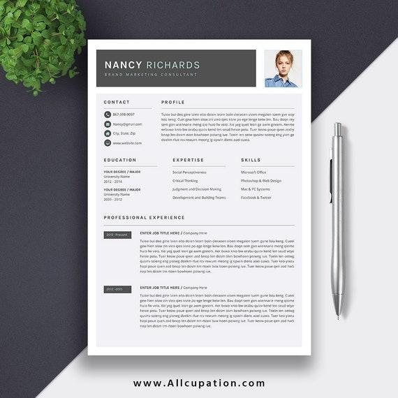 Modern Resume Professional Resume CV Template Word Etsy