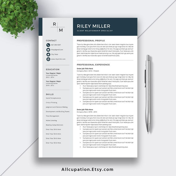 2020 Professional Resume Template for Word / CV Template Word, Modern  Resume, Creative Resume, Teacher Resume Template, Instant Download