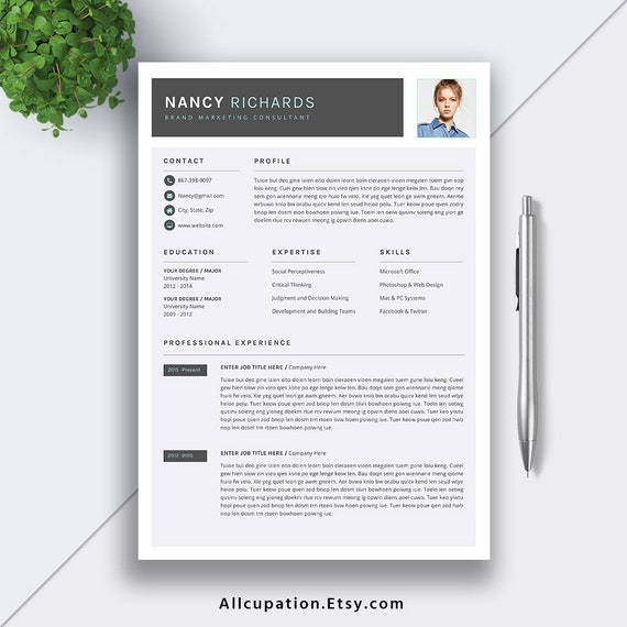 Modern Resume 2019 Professional Resume Cv Template Editable Word Resume Cover Letter Creative Resume Design Instant Download Nancy