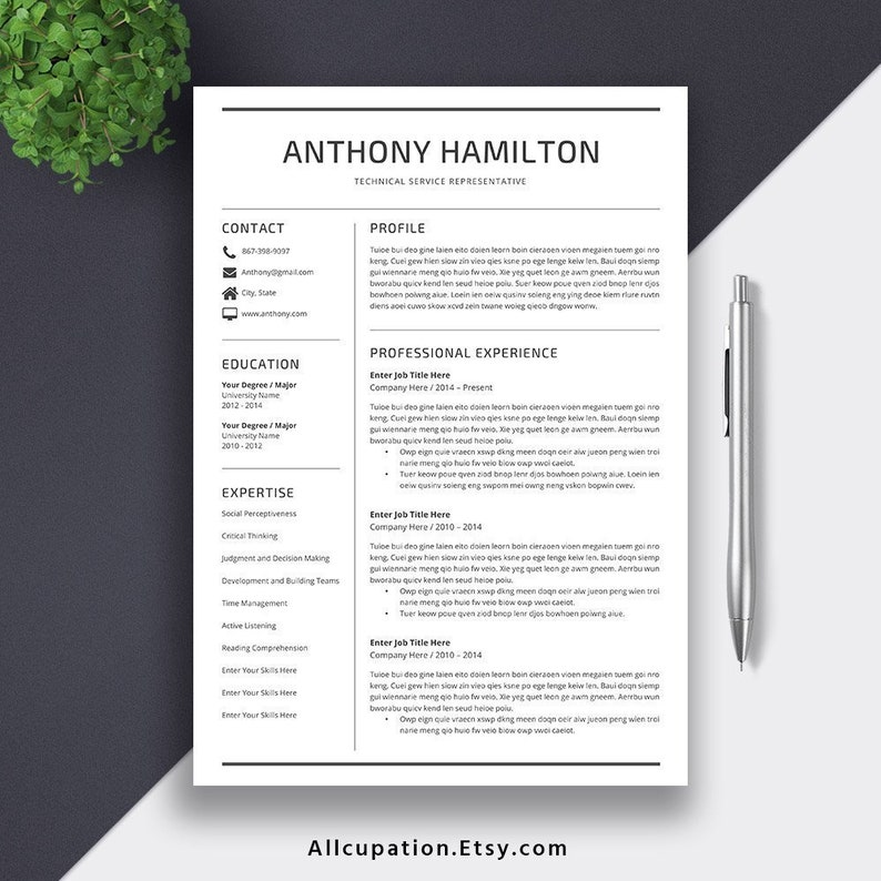 2019 Resume Template Cover Letter Office Word Printable | Etsy