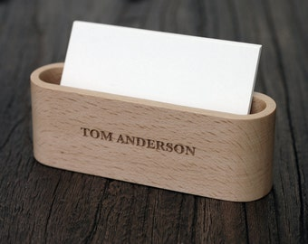 wood business card display unique office gift for men desk accessories lwcs01 - Business Card Display