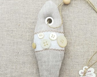 Decorative hanging fish trimmed with Lavender