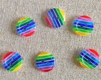 6 buttons 12 mm Rainbow resin