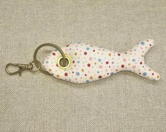 Fish exotic Keychain jewelry bag with polka dots