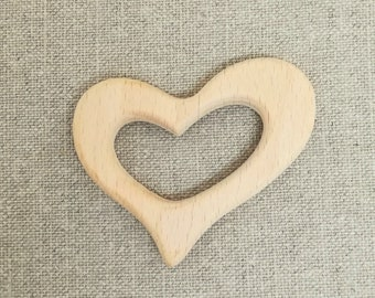Wooden teething ring heart shape