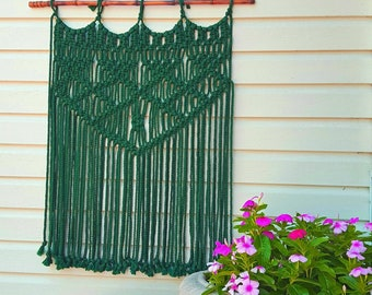 Outdoor Macrame Wall Hanging Weather Proof Washable Boho Garden Patio Decor & Bohemian Yard Art in Green, Navy Blue Red Yellow Gray Teal