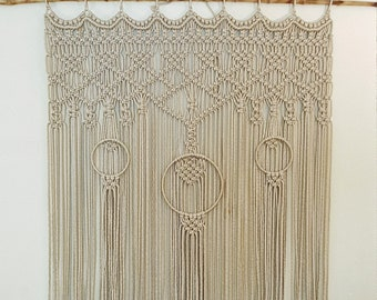 Large Outdoor Macrame Wall Hanging Weather Proof Washable Garden Patio Decor Bohemian Art in Sand Navy Blue Red Yellow Green Gray Teal Wine
