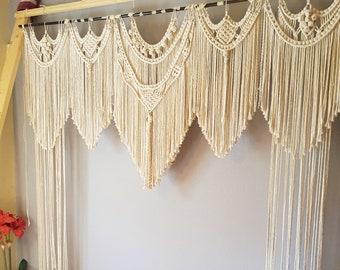 Macrame Wedding Backdrop, Bohemian Macrame Curtain, Window Covering, Wedding Arch Photobooth, Boho Macrame Wall Art, Large Wall Hanging