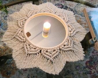 Macrame Mirror White Round Large Wall Hanging or Table Candle Trinket Tray. Boho Fringe Decor / Nursery, Bedroom, Bathroom Nursery  Sunburst