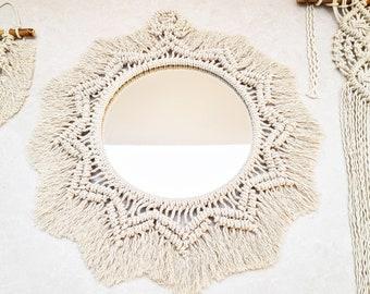Macrame Mirror Large Wall Hanging White Mirror Frame / Handmade Boho Fringe Wall Decor / Nursery, Bedroom, Bathroom Nursery / Woven Sunburst