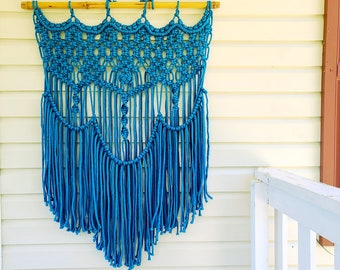 Large Outdoor Macrame Wall Hanging Weather Proof Washable Garden Patio Decor Bohemian Yard Art in Yellow Navy Blue Red Gray Teal Turquoise