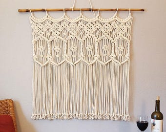 "Macrame Wall Hanging Window Curtain Wall Art Macrame Wedding Backdrop Arch Bohemian Boho ""Harmony"""