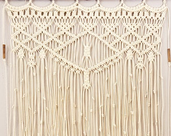 "Large Macrame Wall Hanging Window Curtain Boho Tapestry Wall Art ""Adagio"""