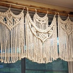 Large Macrame Window Curtain, Covering, White Kitchen Valance or Cream Boho Panel, Bohemian Window Hanging Curtain Treatments, Curtains