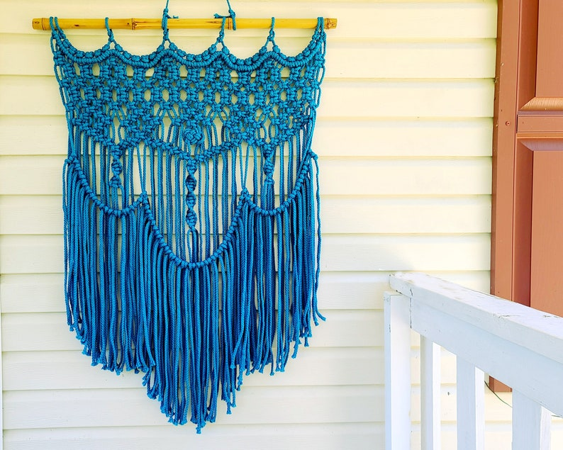 """Large Outdoor Macrame Wall Hanging Weather Proof Washable 30"""" Wide X 40"""" Long"""