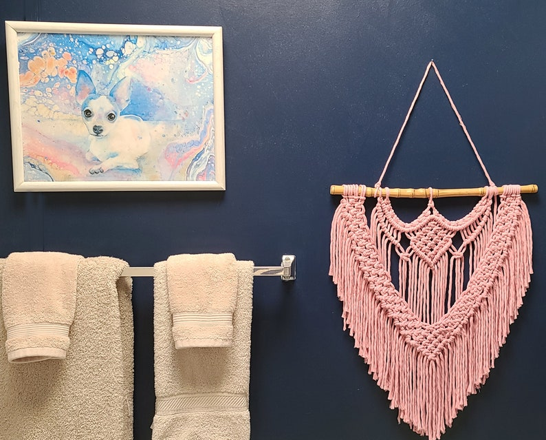 Pink Macrame Wall Hanging. Bohemian Art for Nursery Bedroom image 0