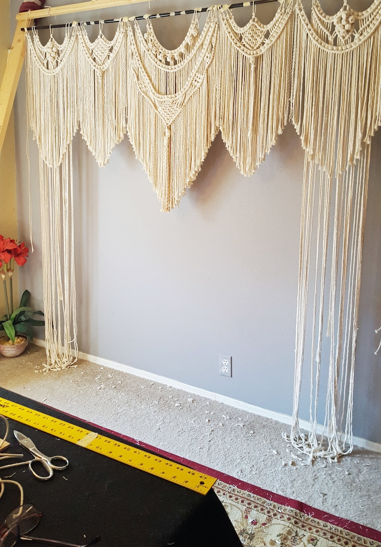 Macrame Wedding Backdrop Bohemian Macrame Curtain Window 84 x 84 (7' x 7') inches