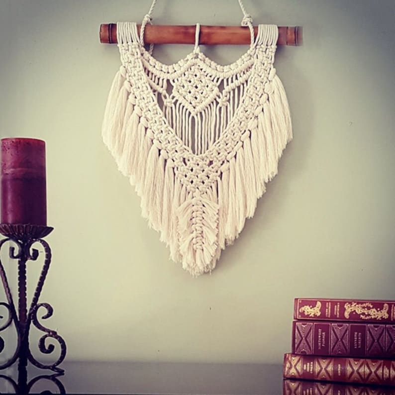 Small Macrame Wall Hanging with Feather Boho Macrame Tapestry image 0