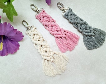Macrame Keychain Bag Charm in Pink Gray White Colors / Colorful Boho Fringe Keyring Bohemian Purse Charm Knotted  Gift For Women Girls Mini
