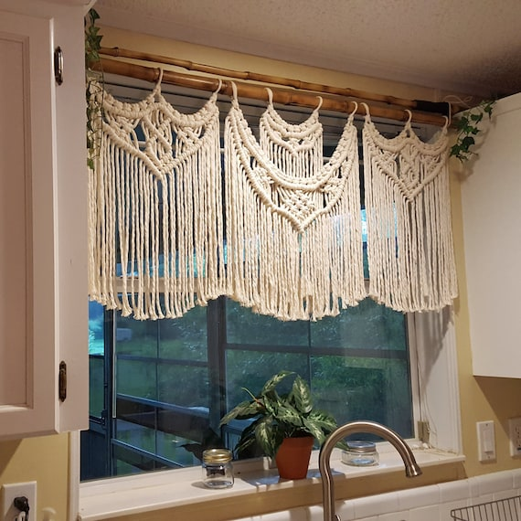 Macrame Window Curtain, Large Covering, White Kitchen Valance or Cream Boho  Panel, Bohemian Window Hanging Curtain Treatments, Curtains