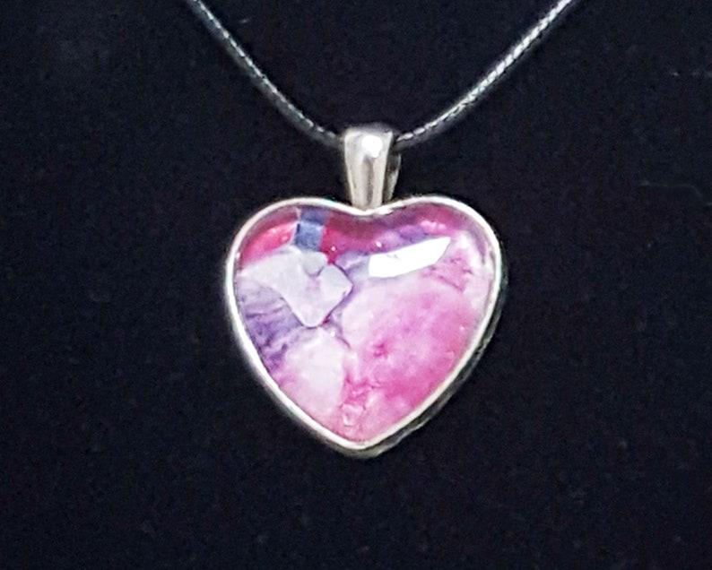 Heart Shaped Pendant  Hand Painted Boho One-of-a-Kind image 0