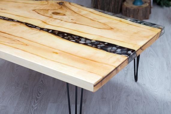 holz und kies tisch originale harz couchtisch tischplatte. Black Bedroom Furniture Sets. Home Design Ideas