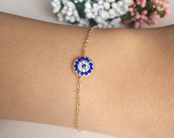 Gold evil eye bracelet, evil eye bracelet, tiny evil eye, protection bracelet, gold evil eye charms, evil eye beads, adjustable bracelet