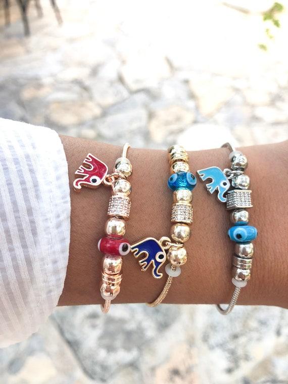 Pandora bracelet, rose gold charm bracelet, elephant charm bracelet,  authentic pandora bracelet, pandora jewelry, greek evil eye jewelry
