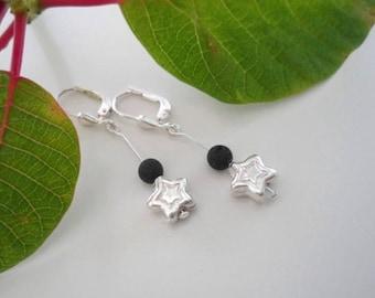 Lava & Silver Star earrings