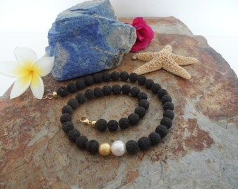 Lava necklace with Pearl and gold