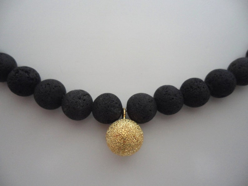 Necklace Lava /& Sparkling Gold Ball