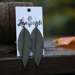 Olive Feather Earrings with Chain - Leather Feather Jewelry - Fringed Earrings