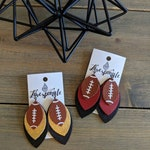 Football Team Leather Earrings - Layered Leather - Football Jewelry - Team Colors