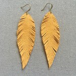Yellow Suede Feather Earrings - Leather Suede Jewelry - Leather Feather Earrings