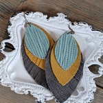 Robins Egg Blue, Mustard, and Grey Layered Leather Earrings - Textured Leather - Lightweight Earrings - Peacock Earrings - Fringe Jewelry