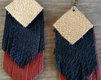 Black Brown and Gold Layered Leather Earrings - Brown Fringed Earrings - Black Fringed Leather Dangle Earrings - Metallic Layered Earrings
