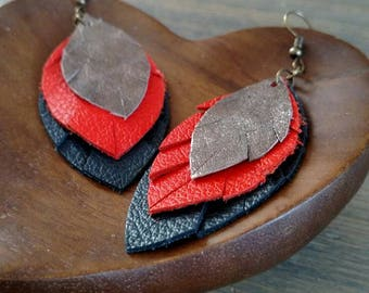 Copper Orange and Navy Layered Leather Earrings - Gold Feather Earrings - Red Orange Navy Layered Earrings - Lovespangle