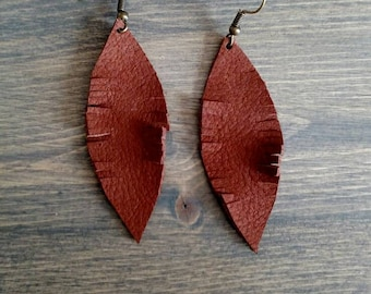 Brown Feather Teardrop Earrings - Teardrop Leather Drop Earrings - Leather Jewelry - Brown Leather Dangle Earrings
